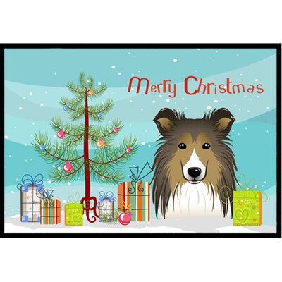 Christmas Tree and Sheltie Doormat Mat Size: 2 x 3