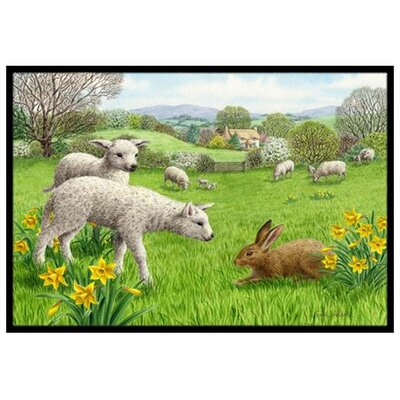 Lambs, Sheep and Rabbit Hare Doormat Rug Size: 2 x 3