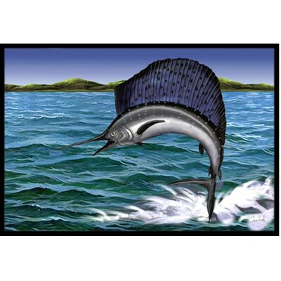 Blue Marlin Doormat Mat Size: 2' x 3'