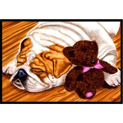 English Bulldog and Teddy Bear Doormat Rug Size: 2 x 3