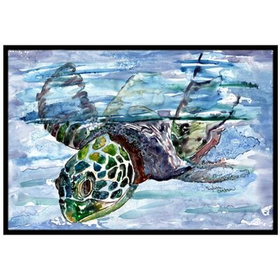 Loggerhead Turtle in a Dive Doormat Mat Size: 2 x 3