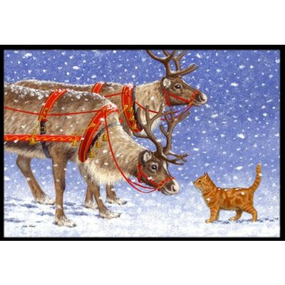 Reindeer and Cat Doormat Rug Size: 16 x 23