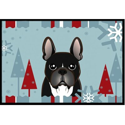 Winter Holiday French Bulldog Doormat Rug Size: 2 x 3
