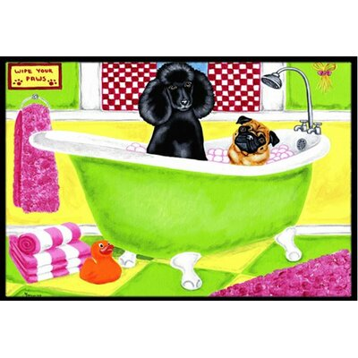 Tub for Two with Poodle and Pug Doormat Mat Size: 16 x 23