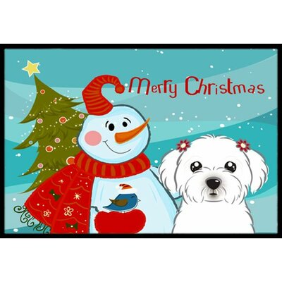 Snowman with Maltese Doormat Mat Size: 2 x 3