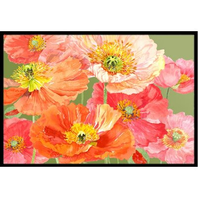 Poppies Doormat Mat Size: 2 x 3