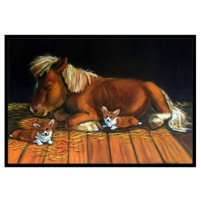 Corgi Snuggles the Pony Doormat Rug Size: 2 x 3