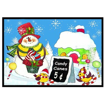 Candy Canes for Sale Snowman Doormat Rug Size: 2 x 3