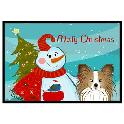 Snowman with Papillon Doormat Rug Size: 2 x 3
