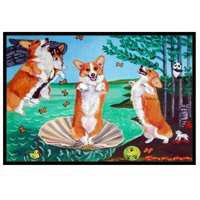 Corgi Birth of Venus Doormat Rug Size: 2 x 3