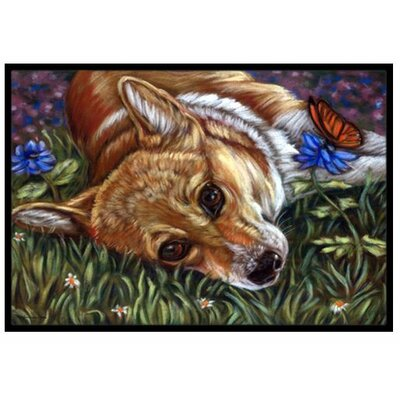 Corgi Pastel Butterfly Doormat Rug Size: 2 x 3