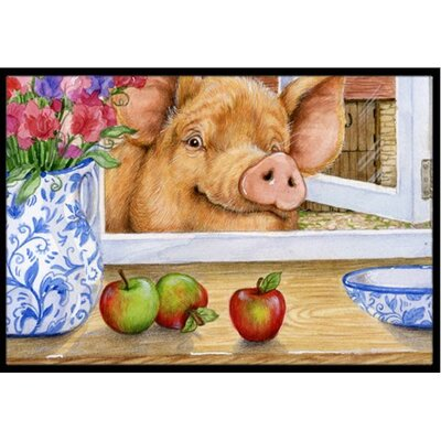 Pig Trying to Reach the Apple in the Window Doormat Mat Size: 2 x 3