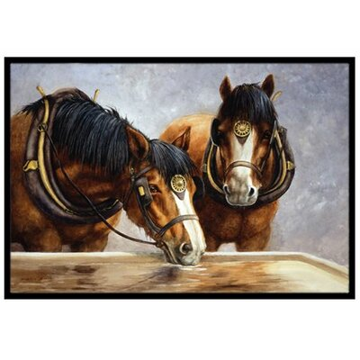Horses Taking a Drink of Water Doormat Mat Size: 16 x 23