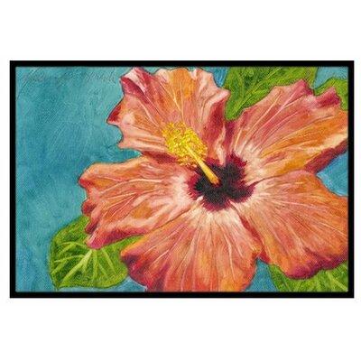 Coral Hibiscus Doormat Mat Size: 2 x 3
