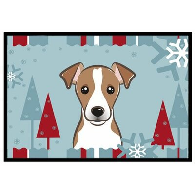 Winter Holiday Jack Russell Terrier Doormat Rug Size: 16 x 23