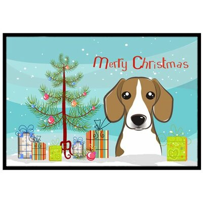 Christmas Tree and Beagle Doormat Mat Size: 2 x 3