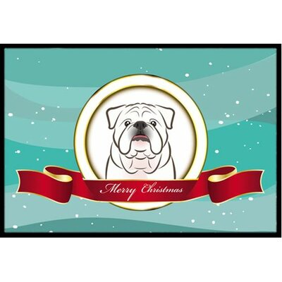 English Bulldog Merry Christmas Doormat Rug Size: 2' x 3', Color: White