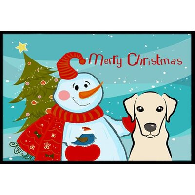 Snowman with Yellow Labrador Doormat Mat Size: 2 x 3