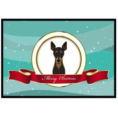 Min Pin Merry Christmas Doormat Mat Size: 2 x 3