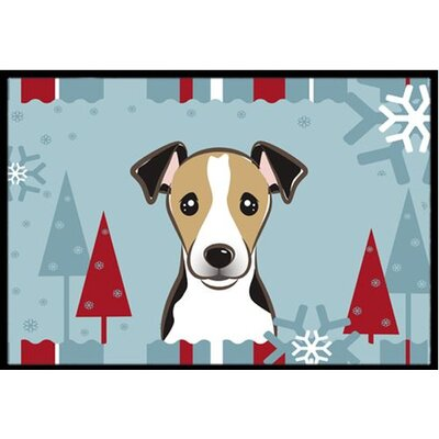 Winter Holiday Jack Russell Terrier Doormat Rug Size: 2 x 3