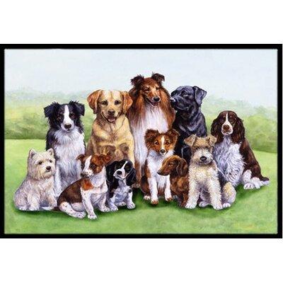Springtime Dogs Doormat Rug Size: 16 x 23