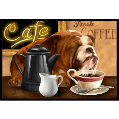 English Bulldog Morning Coffee Doormat Mat Size: 16 x 23