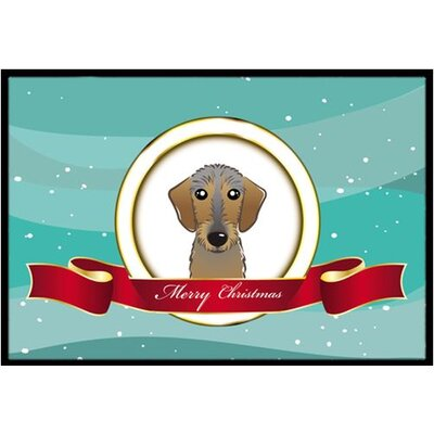 Wirehaired Dachshund Merry Christmas Doormat Mat Size: 2 x 3