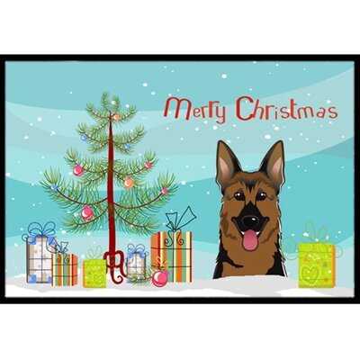 Christmas Tree and German Shepherd Doormat Mat Size: 2 x 3