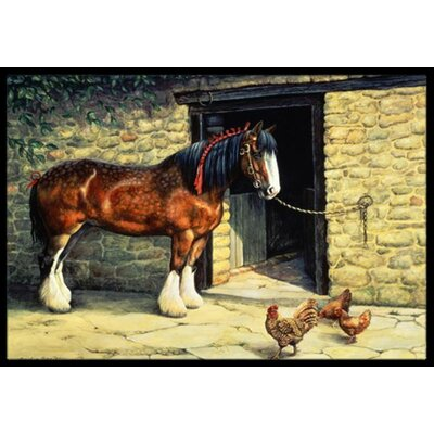 Horse and Chickens Doormat Rug Size: 2 x 3