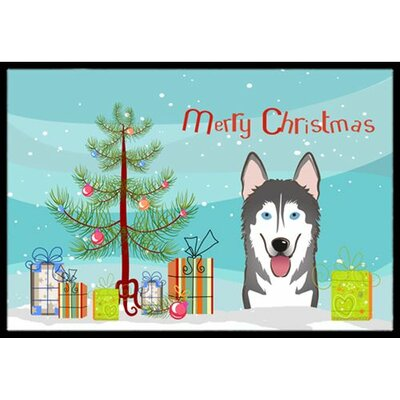 Christmas Tree and Alaskan Malamute Doormat Rug Size: 2 x 3