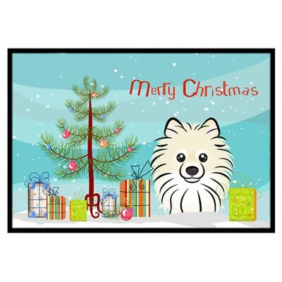 Christmas Tree and Pomeranian Doormat Mat Size: 2 x 3