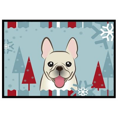 Winter Holiday French Bulldog Doormat Rug Size: 16 x 23