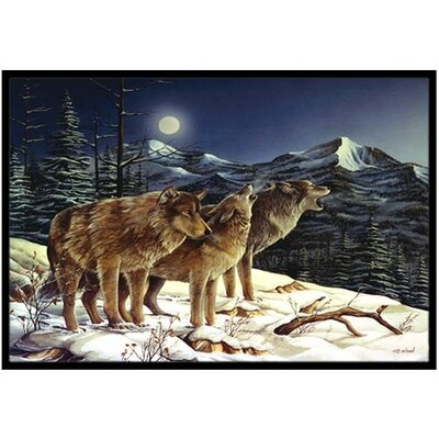 Wolf Wolves Crying at The Moon Doormat Rug Size: 2 x 3