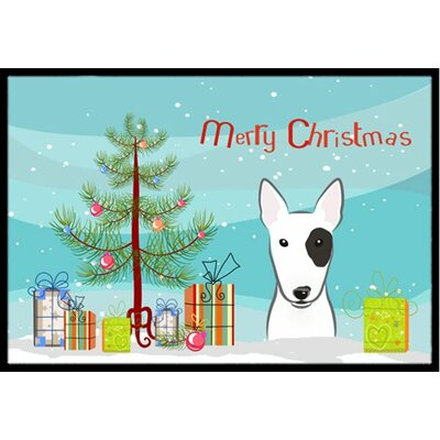 Christmas Tree and Bull Terrier Doormat Mat Size: 16 x 23