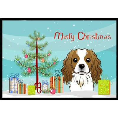 Christmas Tree and Cavalier Spaniel Doormat Mat Size: 16 x 23