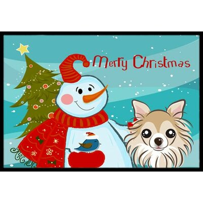 Snowman with Chihuahua Doormat Rug Size: 2 x 3