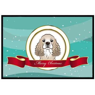 Cocker Spaniel Merry Christmas Doormat Mat Size: 2 x 3