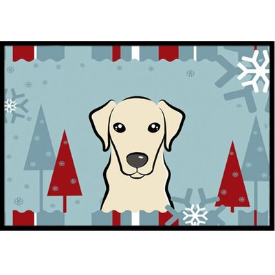 Winter Holiday Yellow Labrador Doormat Mat Size: 16 x 23