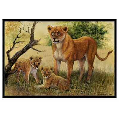 Lion and Cubs Doormat Rug Size: 2 x 3