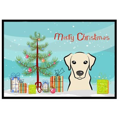 Christmas Tree and Yellow Labrador Doormat Mat Size: 2 x 3
