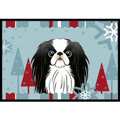 Winter Holiday Japanese Chin Doormat Mat Size: 2 x 3
