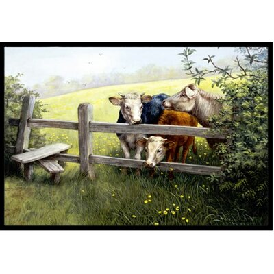 Cows in a Buttercup Meadow Doormat Rug Size: 2 x 3