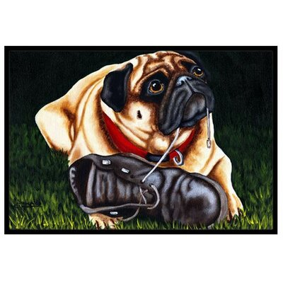 Cluster Buster the Pug Doormat Rug Size: 2 x 3