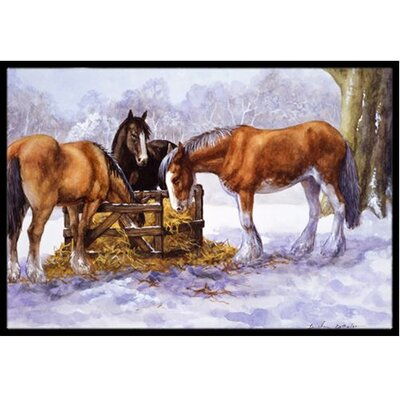 Horses Eating Hay in the Snow Doormat Rug Size: 2 x 3