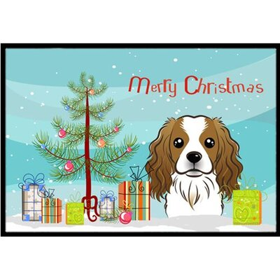 Christmas Tree and Cavalier Spaniel Doormat Mat Size: 2 x 3
