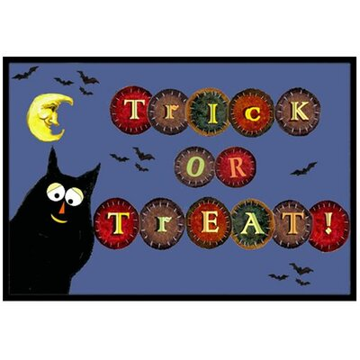 Trick or Treat Kitty Halloween Doormat Rug Size: 2 x 3