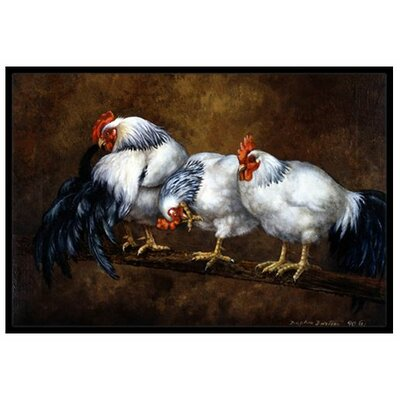 Roosting Rooster and Chickens Doormat Rug Size: 2 x 3