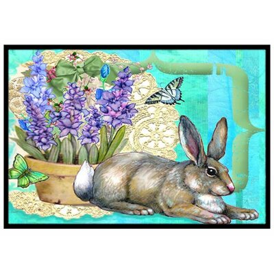 Springtime Easter Rabbit Doormat Mat Size: Rectangle 16 x 23