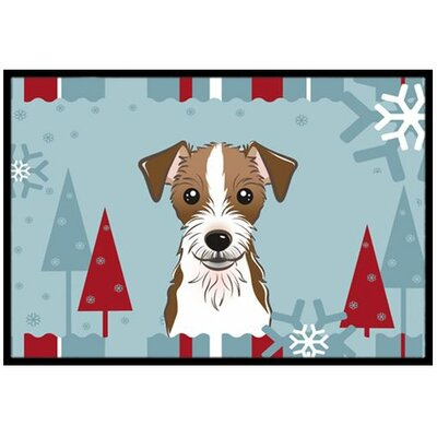 Winter Holiday Jack Russell Terrier Doormat Mat Size: 2 x 3