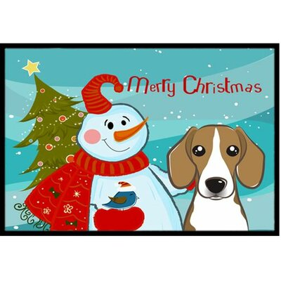 Snowman with Beagle Doormat Rug Size: 2 x 3